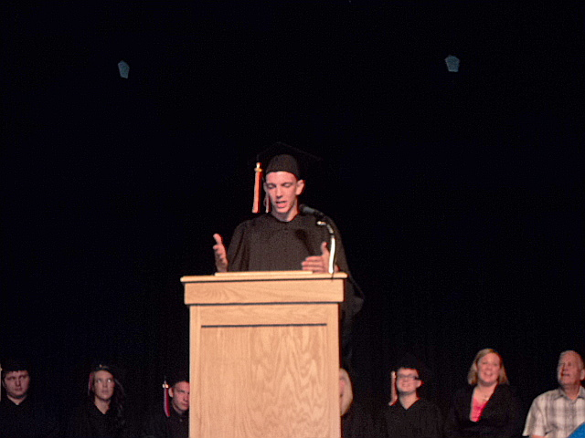 Markie on the platform giving his commencement speech. I bawled like a baby!