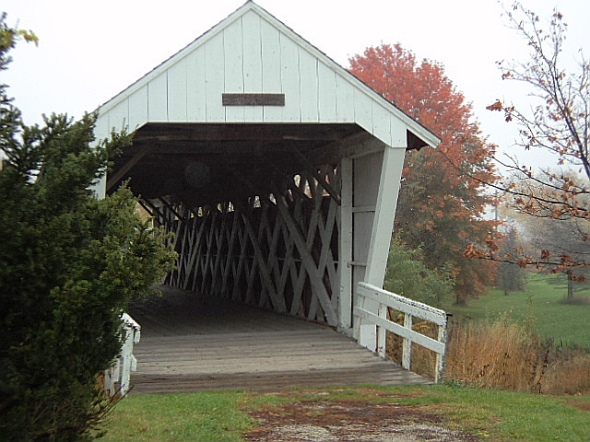 The end of Imes Covered Bridge.