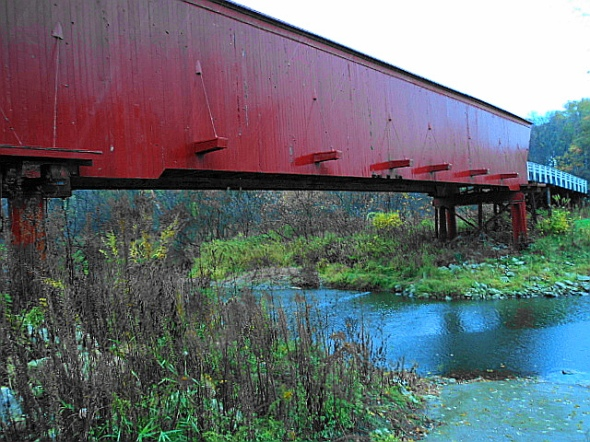 View of the Middle River under Roseman Covered Bridge.
